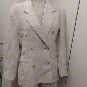 Larry Levine Cream Linen DB Jacket blazer size 19